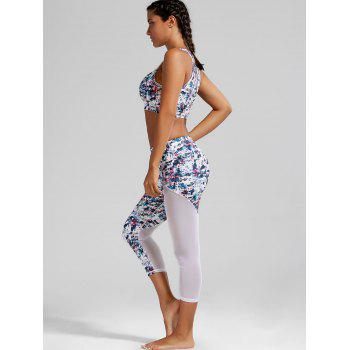 Sheer Mesh Padded Sports Bra and Printed Capri Leggings - WHITE S