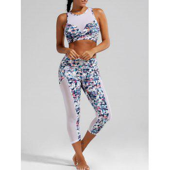 Sheer Mesh Padded Sports Bra and Printed Capri Leggings - WHITE L