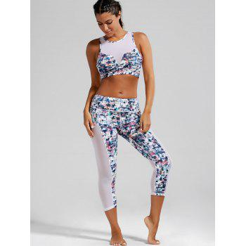 Sheer Mesh Padded Sports Bra and Printed Capri Leggings - XL XL