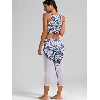 Sheer Mesh Padded Sports Bra and Printed Capri Leggings - WHITE WHITE