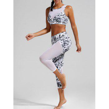 Sports Padded Bra and Mesh Panel Sheer Yoga Leggings - BLACK WHITE XL