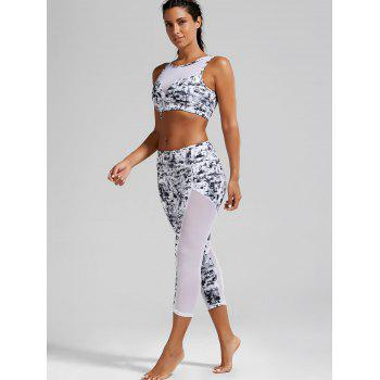 Sports Padded Bra and Mesh Panel Sheer Yoga Leggings - XL XL