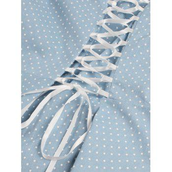 Vintage Square Neck Polka Dot Dress - LIGHT BLUE M