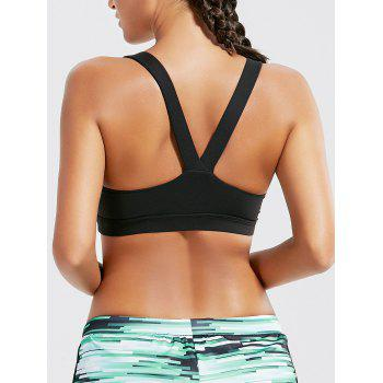 Racer Back Padded Workout Bra - BLACK L