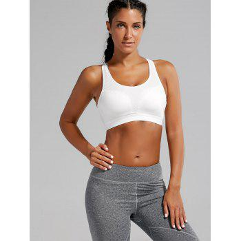 Padded Criss Cross Strappy Sports Bra - WHITE M