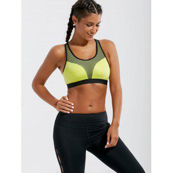 Padded Criss Cross Strappy Sports Bra - LEMON YELLOW S
