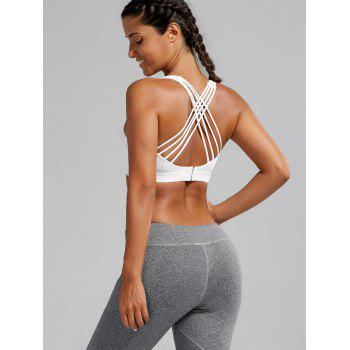 Padded Criss Cross Strappy Sports Bra - WHITE L