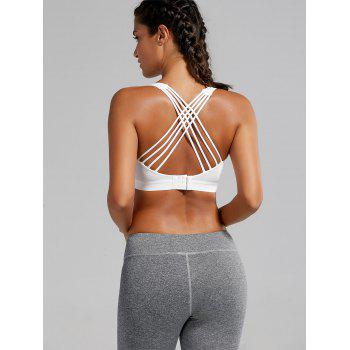 Padded Criss Cross Strappy Sports Bra - WHITE S
