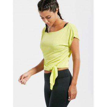 Active Cropped Front Tie T-shirt - BLUISH YELLOW M