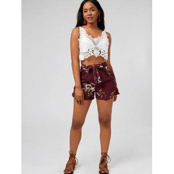 High Waisted Ruffle Trim Floral Shorts - DEEP RED S