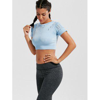 Crew Neck Ripped Crop Sports T-shirt - LIGHT BLUE L