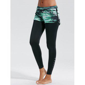 Ombre Printed Fitness Leggings with Shorts Bottom - BLACK L