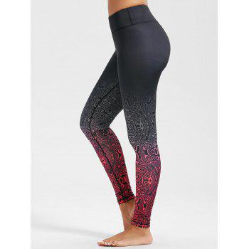 Plus Size Ombre Pattern Ninth Fitness Leggings - TUTTI FRUTTI L
