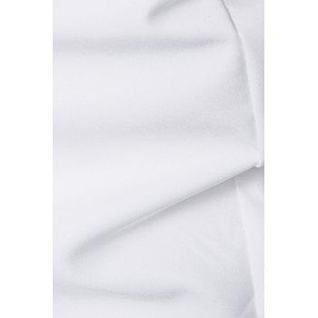 Stand Collar Long Sleeve Oblique Placket Shirt - WHITE XL