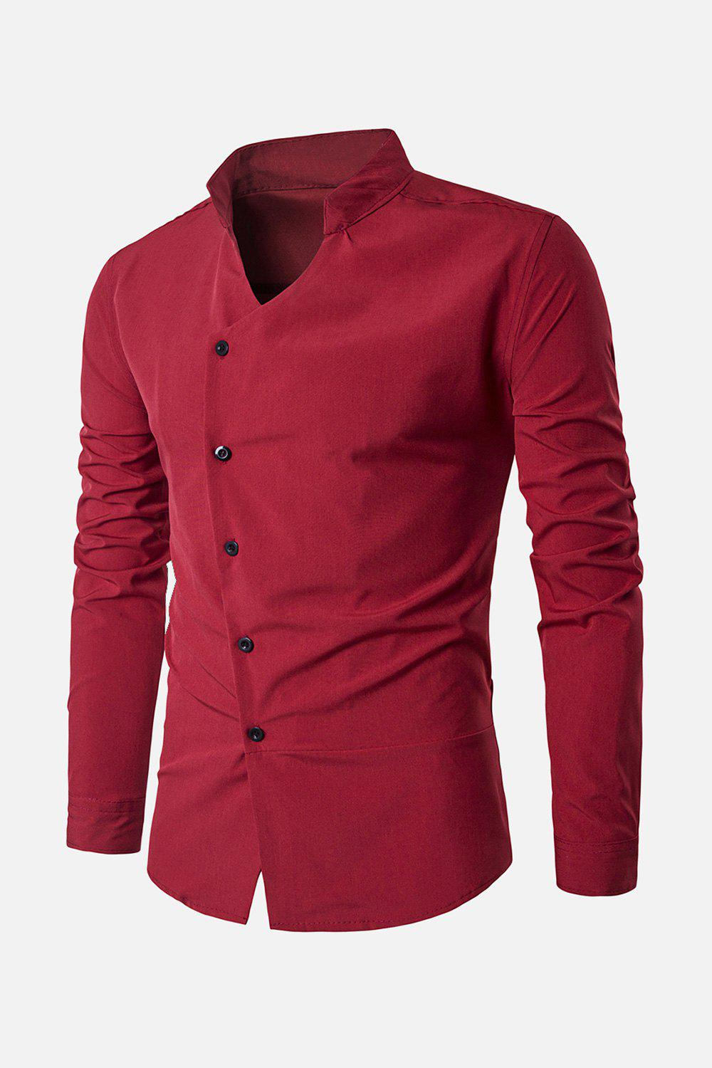 Stand Collar Long Sleeve Oblique Placket Shirt - RED XL