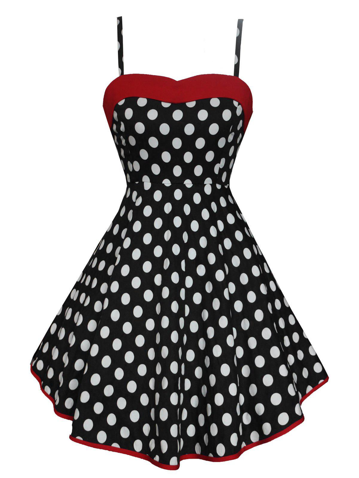 Vintage Lace Up Polka Dot High Low Dress - BLACK S