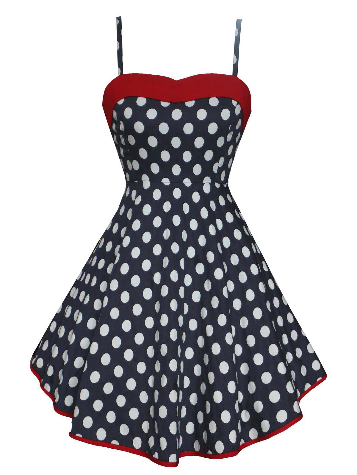 Vintage Lace Up Polka Dot High Low Dress - DEEP BLUE 2XL
