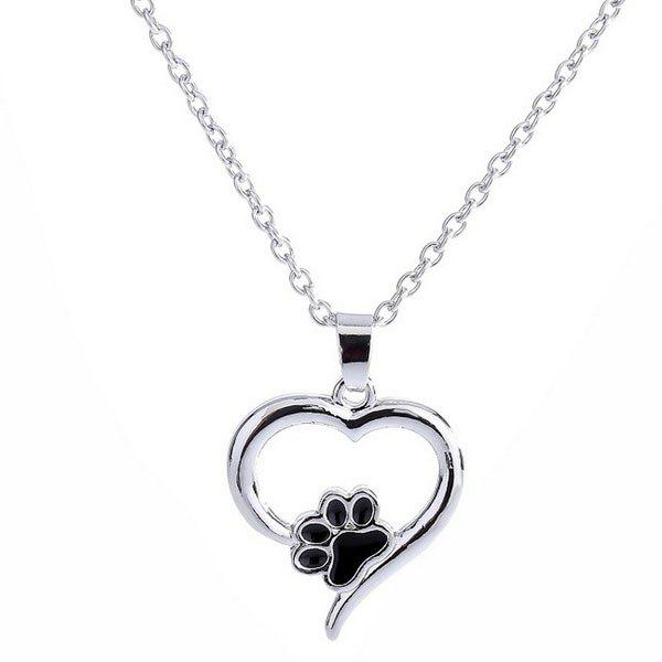 Claw Heart Hollow Out Pendant Necklace cute heart hollow out dog pendant necklace for women