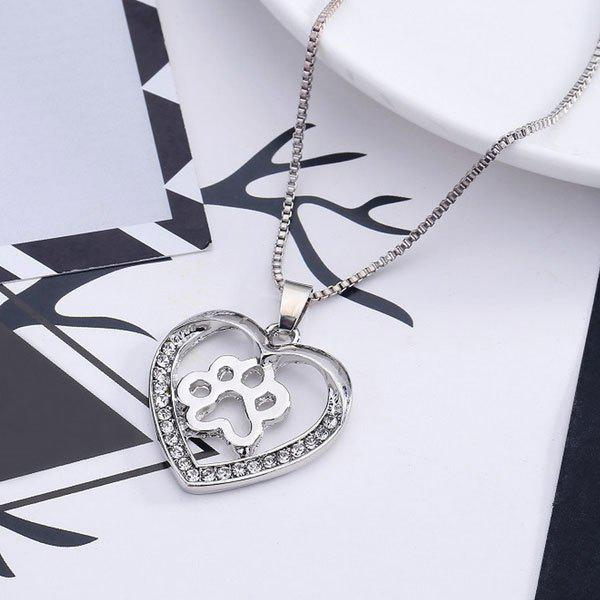 Hollowed Dog Paw Heart Pendant Necklace heart of a dog