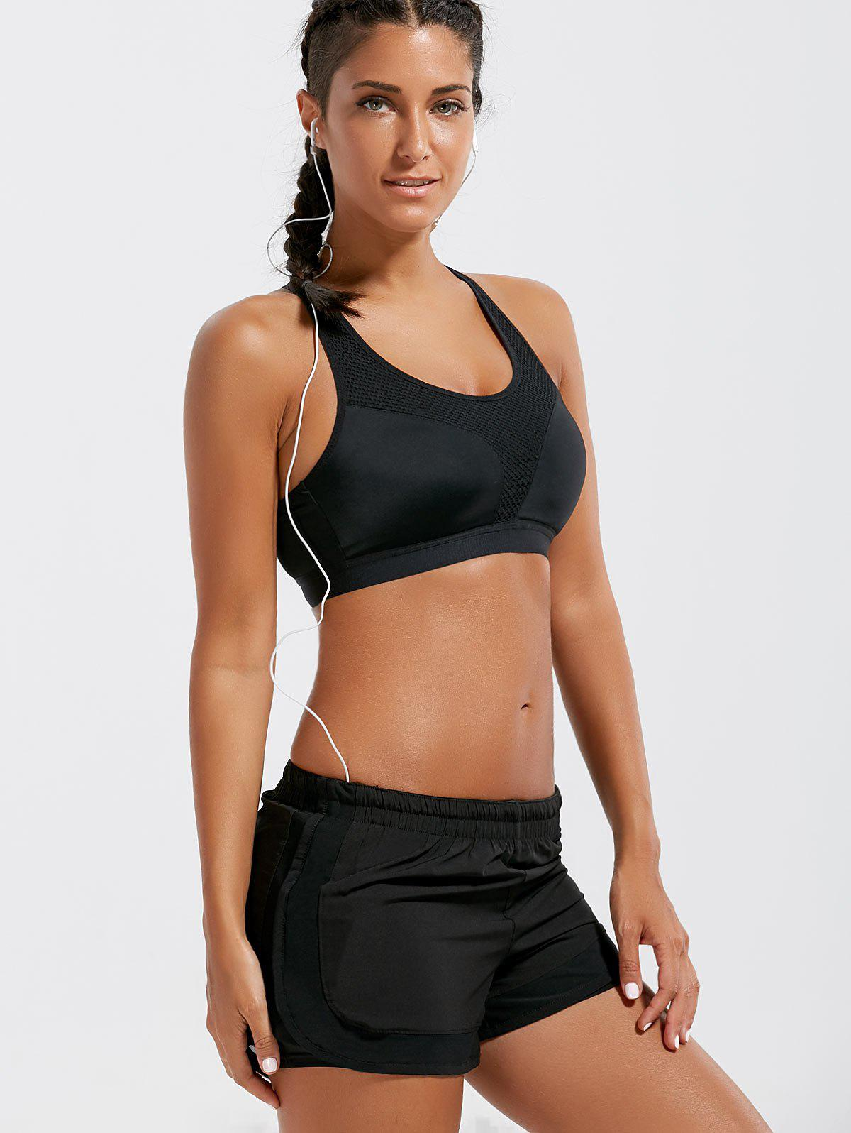 Padded Criss Cross Strappy Sports Bra - BLACK S