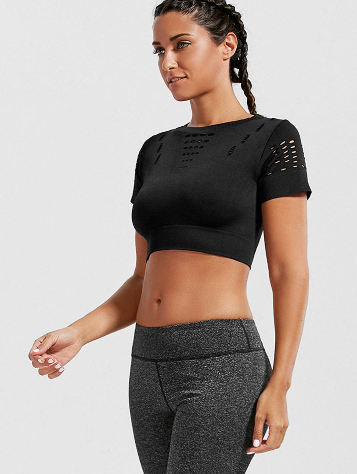 Crew Neck Ripped Crop Sports T-shirt - BLACK M
