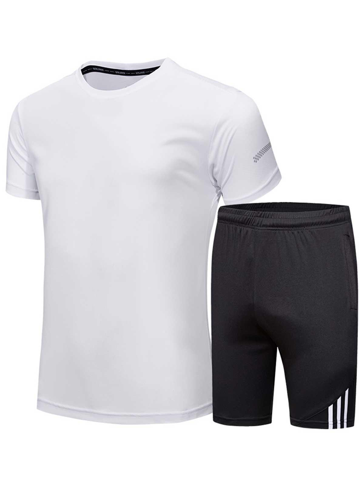 Short Sleeve Tee and Shorts Sportswear - WHITE L