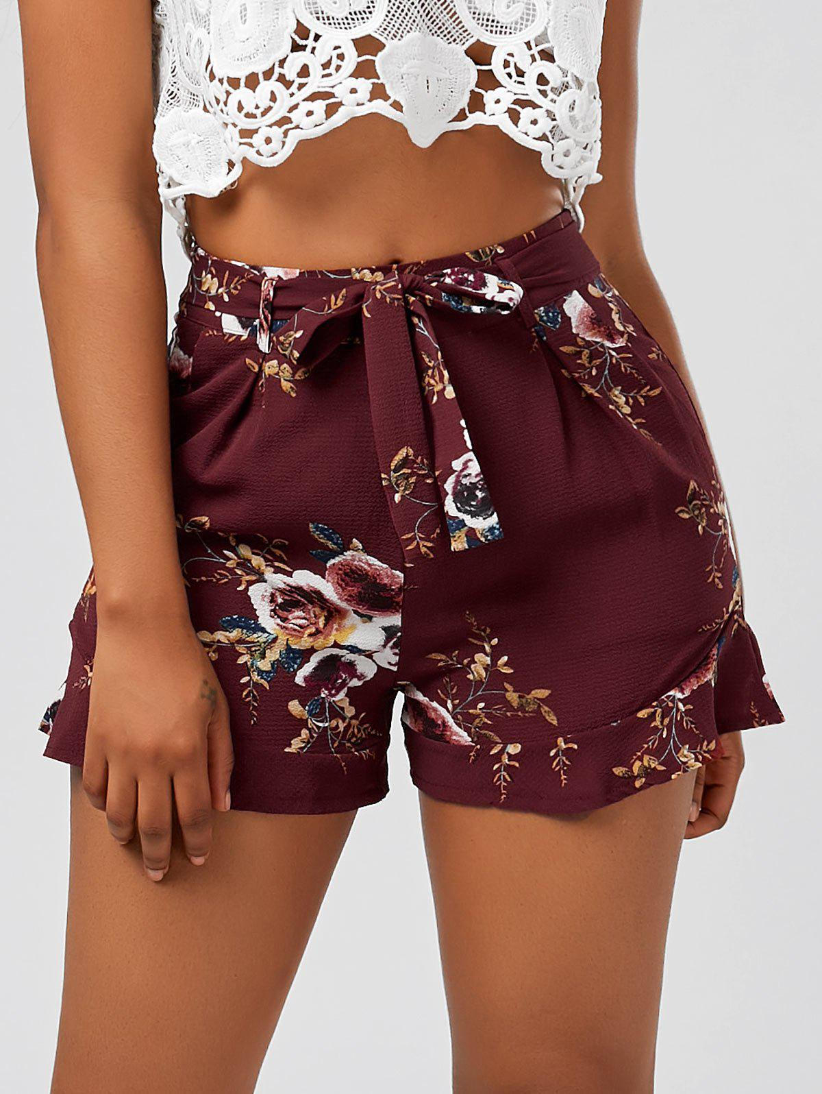 High Waisted Ruffle Trim Floral Shorts - DEEP RED M
