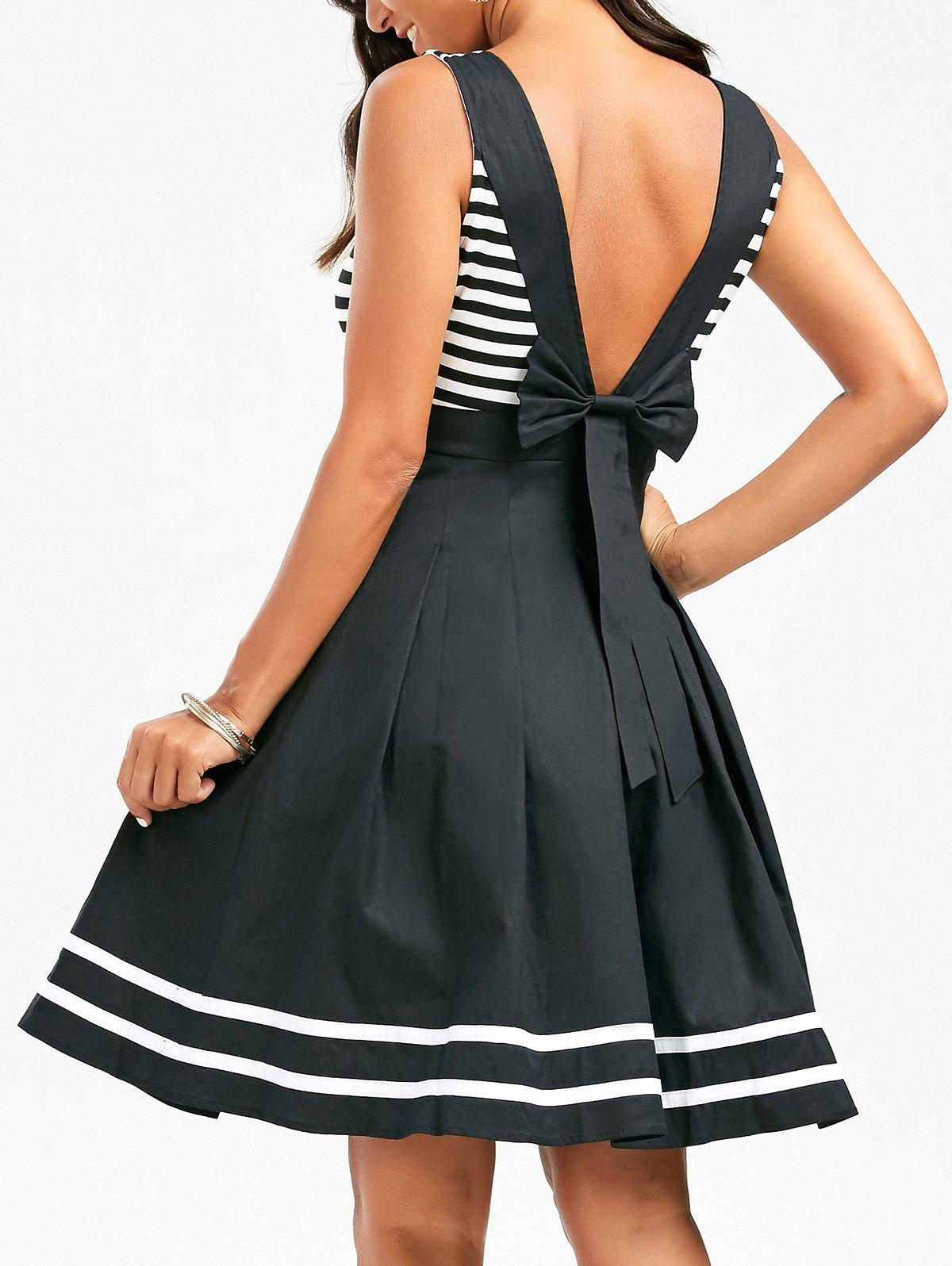 Stripe Skater Dress with Deep V Back - COLORMIX L