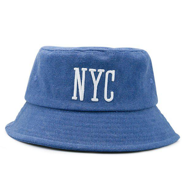 Letters Embroidered Sunscreen Fisherman Cap - BLUE