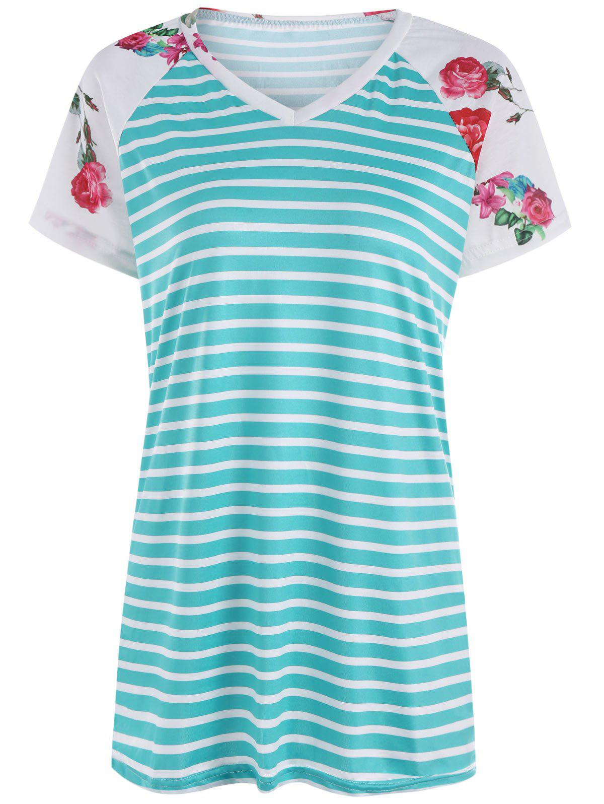 Floral Raglan Sleeve Striped Tunic T Shirt striped tunic floral embroidered shirt