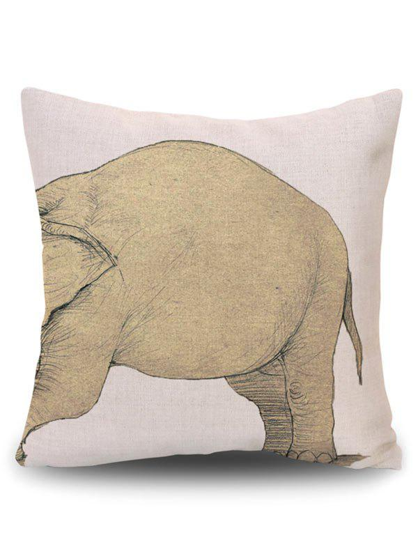Elephant Print Decorative Linen Pillow Case - BEIGE PATTERN A