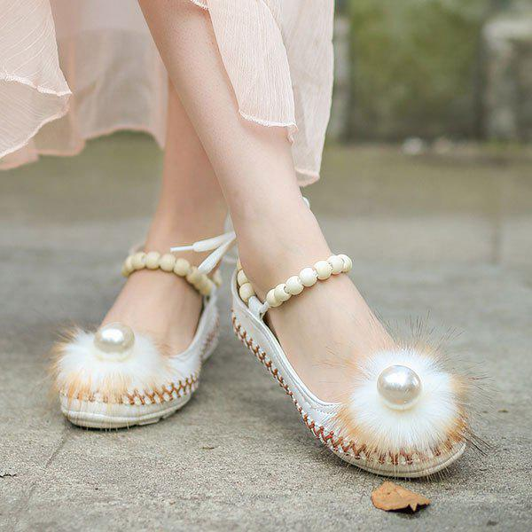 Beading Faux Fur Flat Shoes - Blanc 40