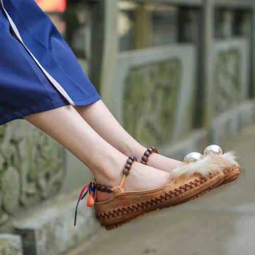 Beading Faux Fur Flat Shoes - [