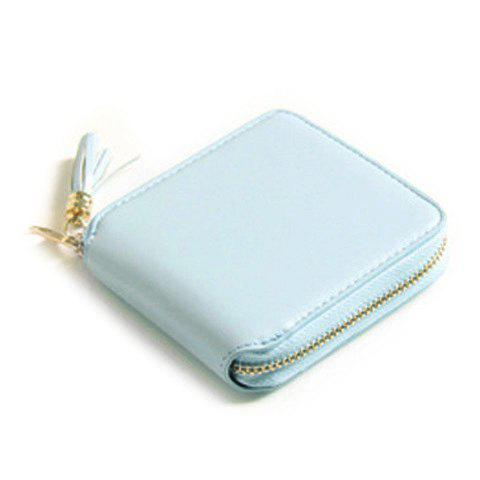 Zip Around Tassel Small Wallet - Bleu clair