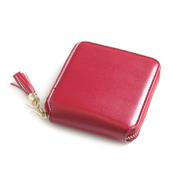 Zip Around Tassel Small Wallet - WINE RED