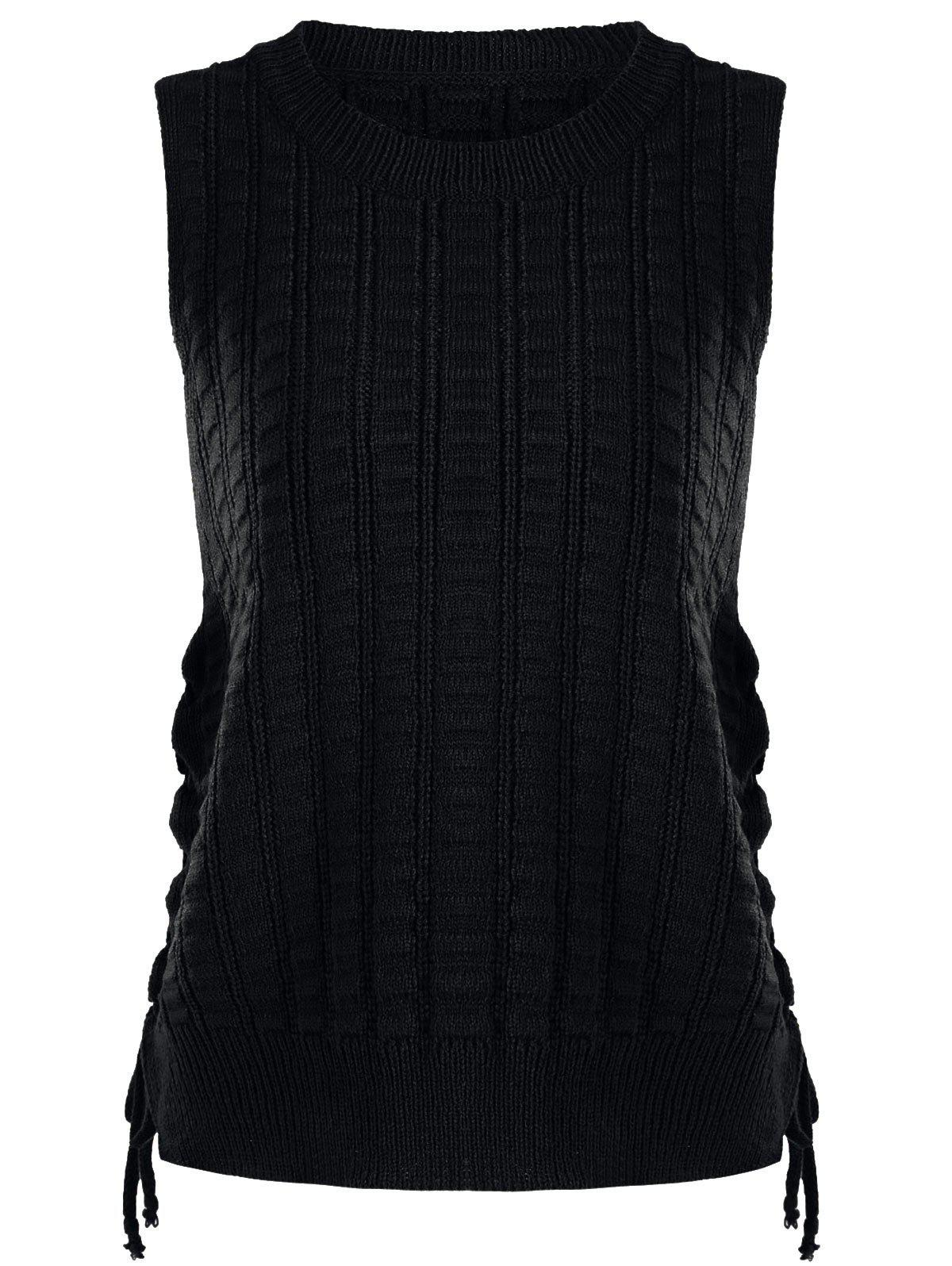 Lace Up Knit Sweater Vest, BLACK, ONE SIZE in Sweaters & Cardigans ...