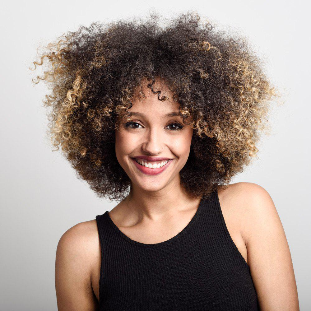 Short Colormix Shaggy Side Bang Afro Kinky Curly Synthetic Wig