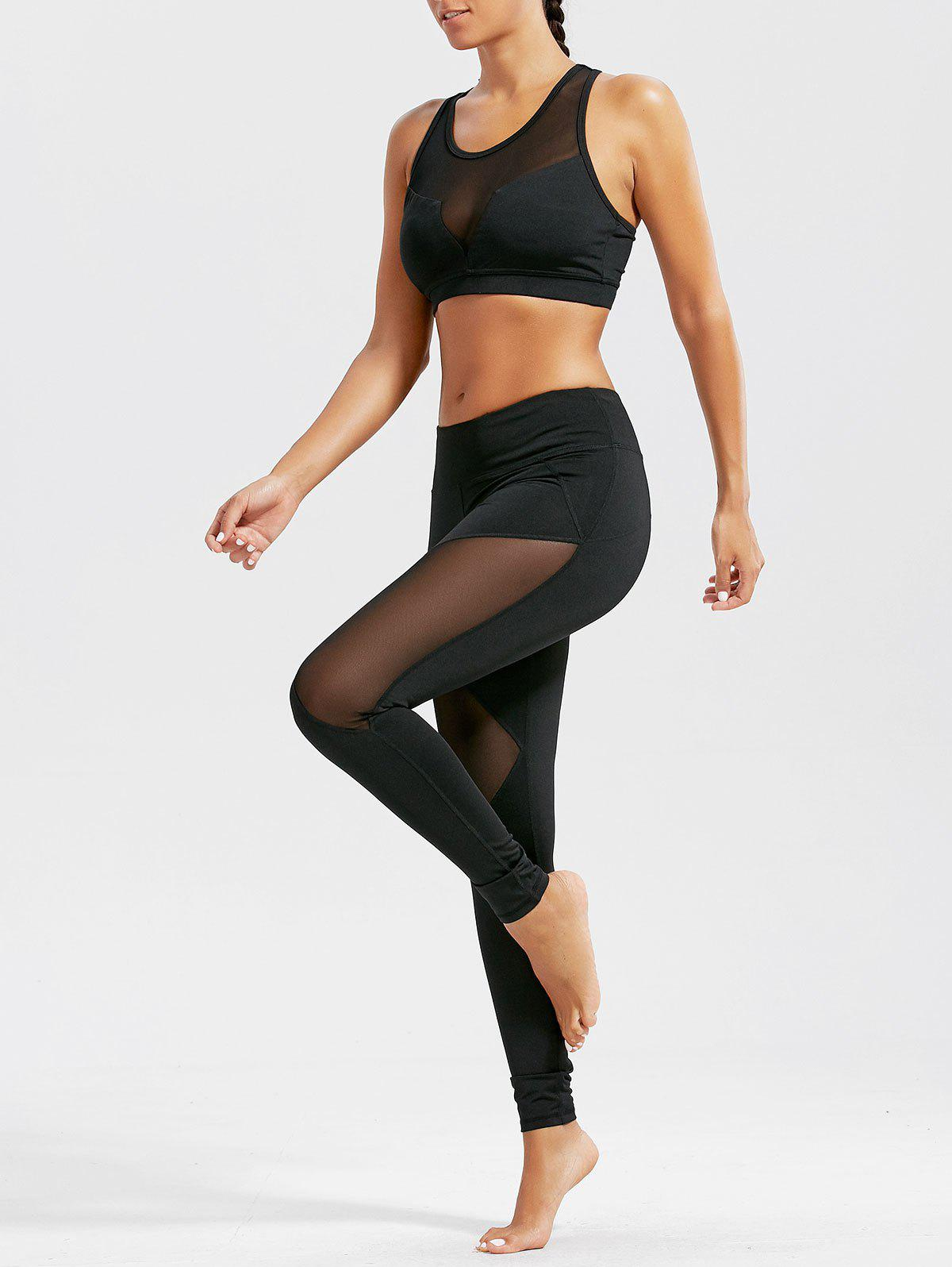 Sheer Mash Sports Bra and Workout Leggings Set - BLACK XL
