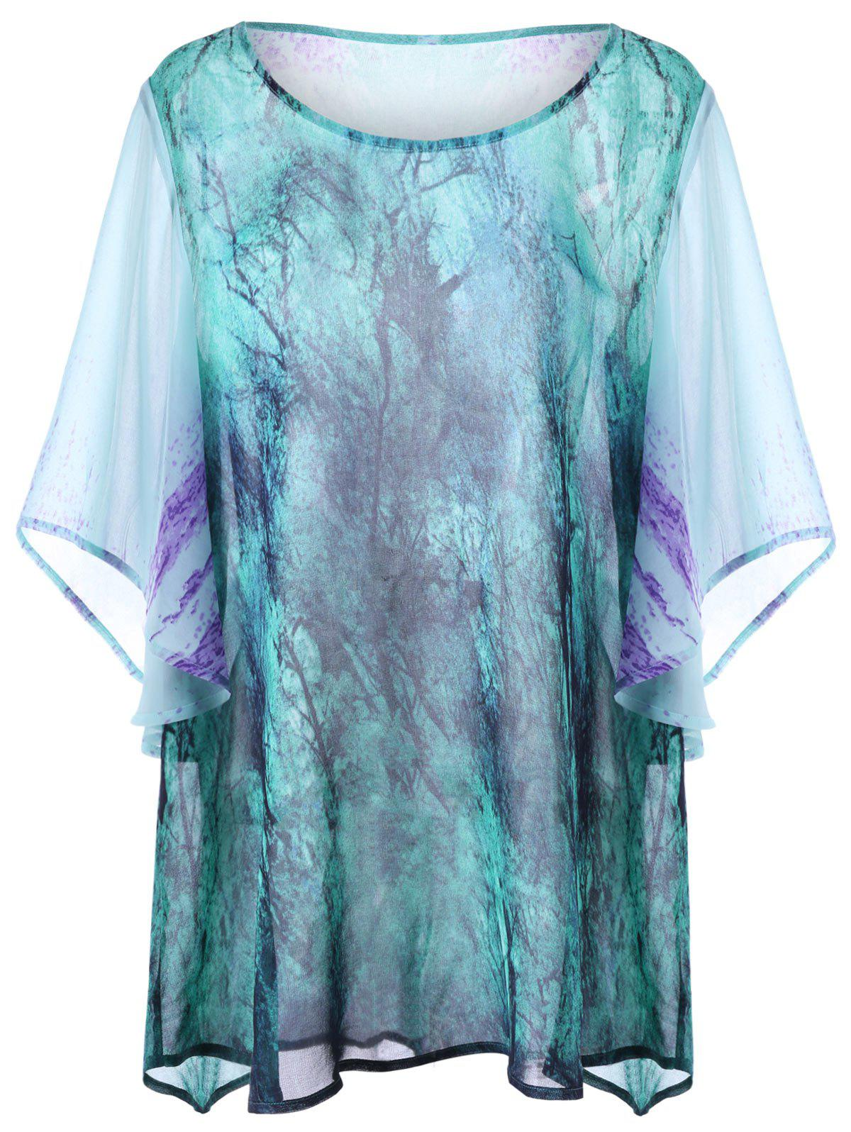 Tie Dye Print Plus Size Top - COLORMIX 4XL
