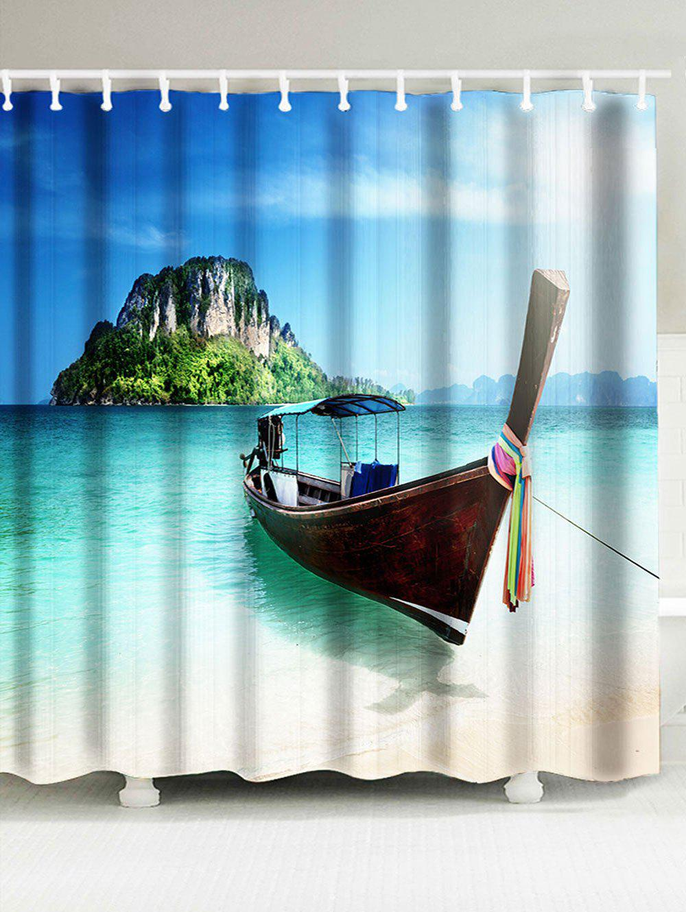 Scenic Boat Island Fabric Shower Curtain - BLUE W71 INCH * L79 INCH