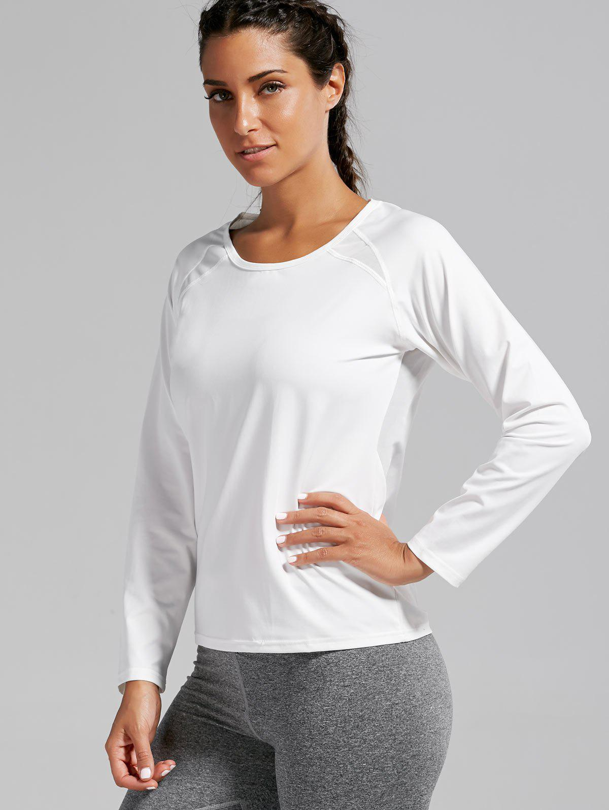 Quick-dry Open Back Sports T-shirt - WHITE XL
