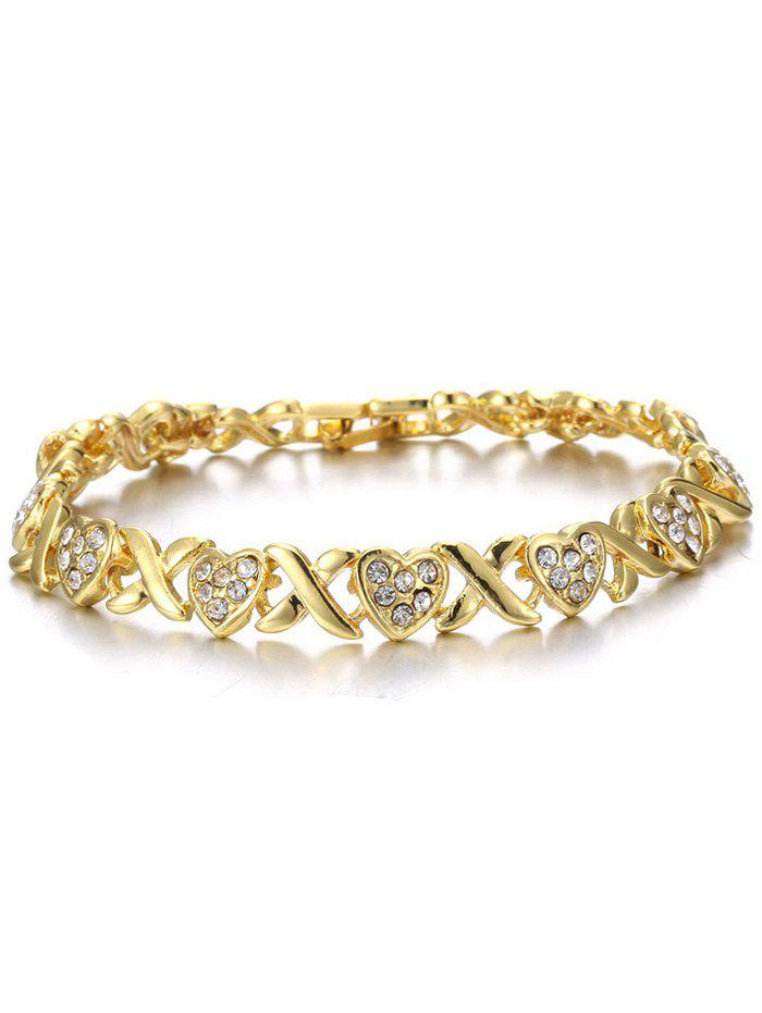 Rhinestone Inlaid Alloy Crossing Heart Bracelet - GOLDEN
