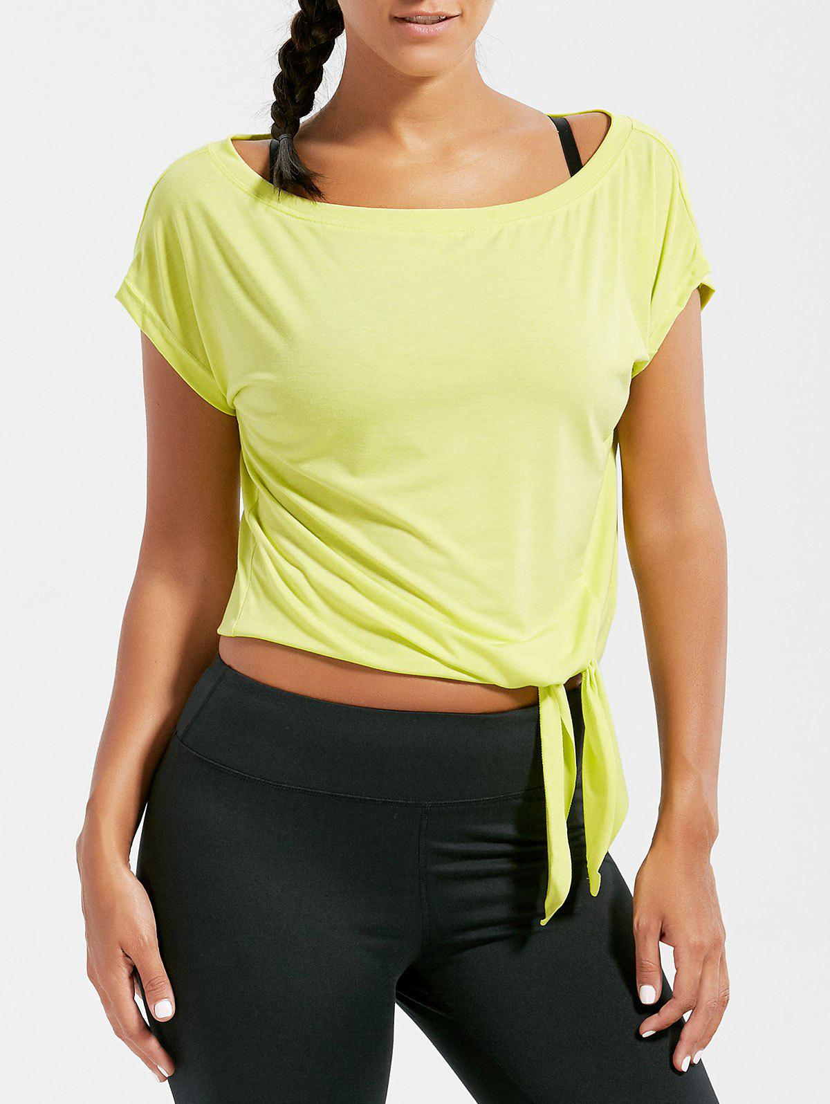 Active Cropped Front Tie T-shirt - BLUISH YELLOW S