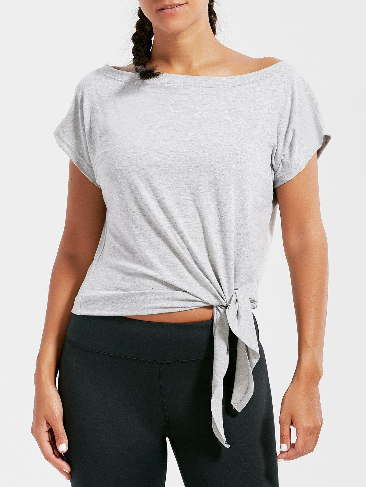 Active Cropped Front Tie T-shirt - GRAY S