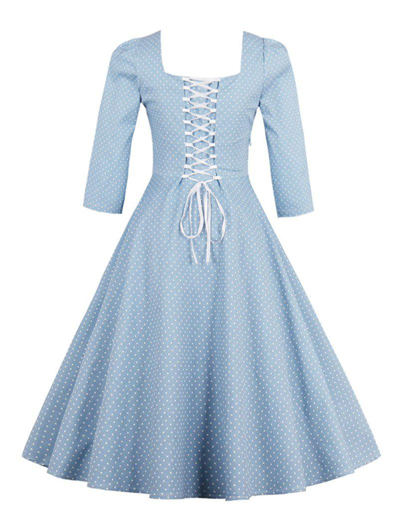 Vintage Square Neck Polka Dot Dress - LIGHT BLUE 2XL