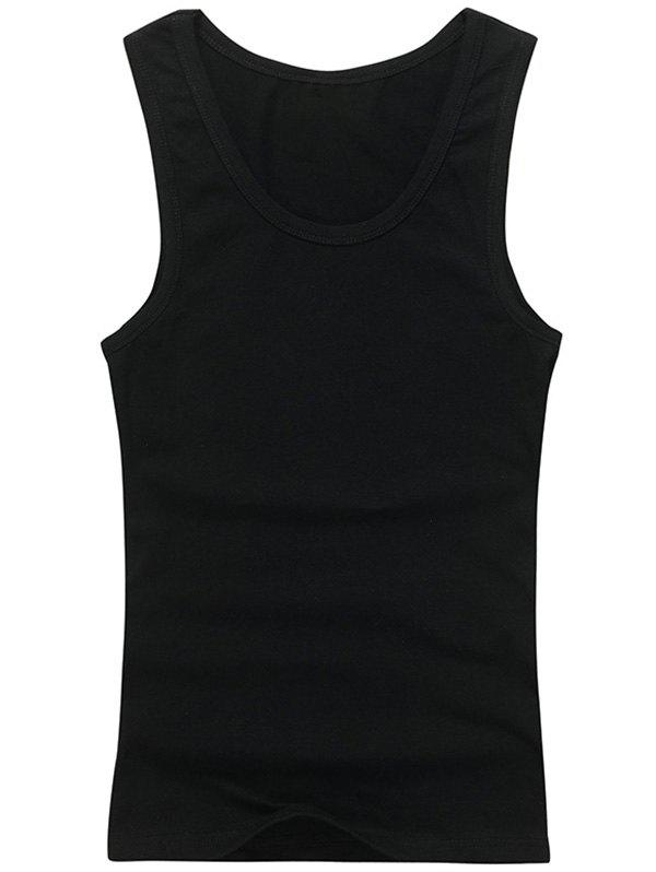 Slim Fit Round Neck Plain Tank Top - BLACK 2XL