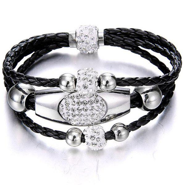 Rhinestone Beaded Layer Magnet Buckle Bracelet - Noir
