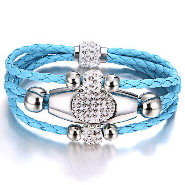 Rhinestone Beaded Layer Magnet Buckle Bracelet - Azur