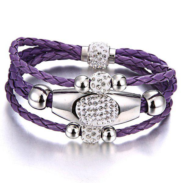 Rhinestone Beaded Layer Magnet Buckle Bracelet - PURPLE