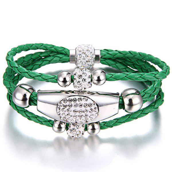 Rhinestone Beaded Layer Magnet Buckle Bracelet - GREEN